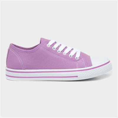 Womens Lilac Lace Up Canvas