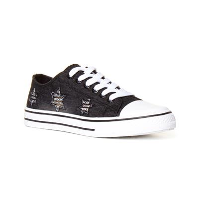Womens Black Star Lace Up Canvas