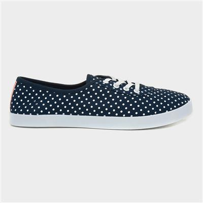 Womens Blue Polka Dot Speed Lace Canvas