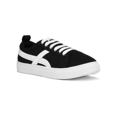 Womens Black & White Lace Up Canvas