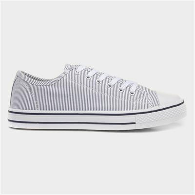 Womens White Stripe Lace Up Canvas