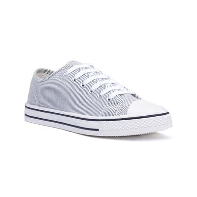 Lilley Womens White Stripe Lace Up