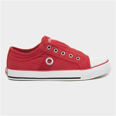 Womens Slip On Canvas Shoe in Red
