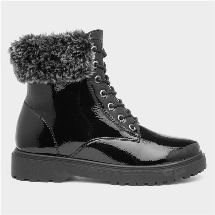 Vintage Winter Retro Boots – Snow, Rain, Cold Lilley Womens Black Patent Lace Up Boot £19.99 AT vintagedancer.com