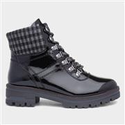 Soft Line Womens Patent Lace Up Boot in Black (Click For Details)