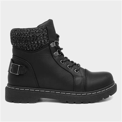 Womens Black Lace Up Chunky Boots
