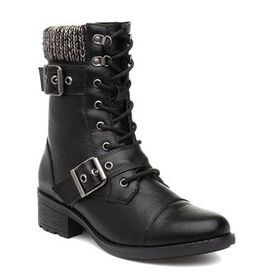 Womens Black Lace Up Boot