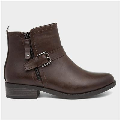 Womens Brown Flat Ankle Boot