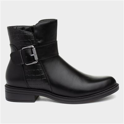 Womens Black Croc Ankle Boot