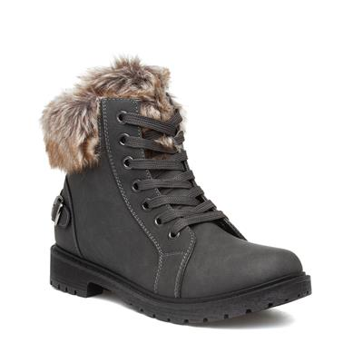 Womens Grey Faux Fur Lace Up Boot
