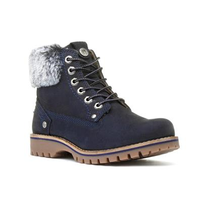 Alaska Womens Navy Lace Up Ankle Boot
