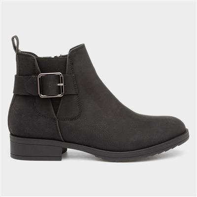 Womens Buckle Black Chelsea Boot