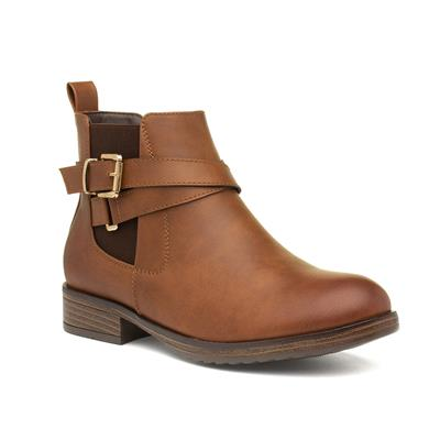 Womens Tan Chelsea Boots with Buckle