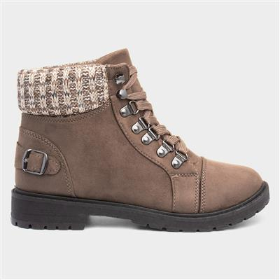 Womens Taupe Lace Up Ankle Boot