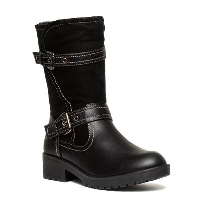 Womens Black Biker Calf Boot
