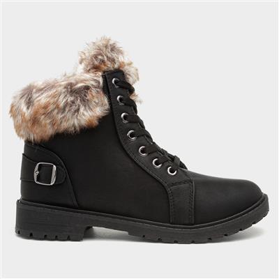 Womens Black Lace Up Faux Fur Trim Boot