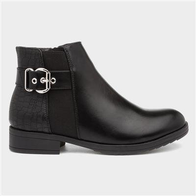 Womens Black Chelsea Boot with Buckle
