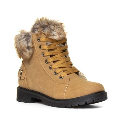 Womens Tan Fur Lace Up Boot