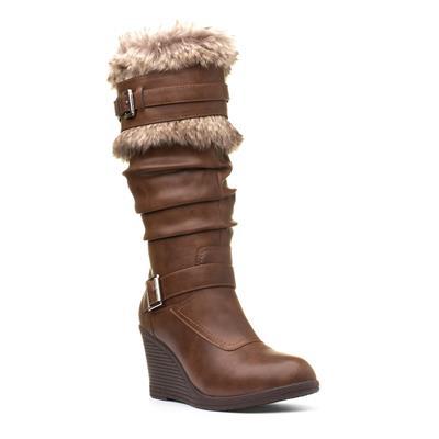 Womens Tan Wedge Faux Fur High Leg Boot