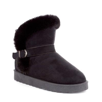 Womens Black Faux Suede Pull On Boot