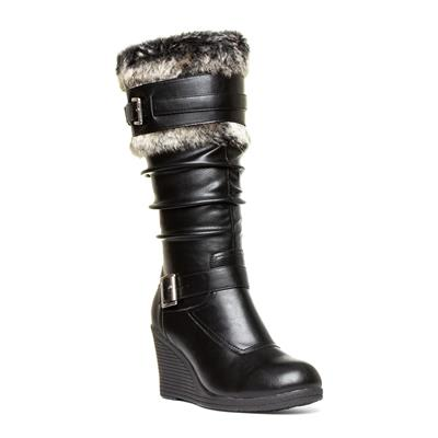 Womens Black Faux Fur Wedge