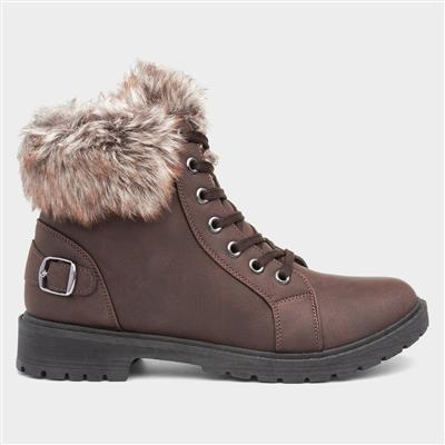 Womens Brown Faux Fur Trim Lace Up Boot