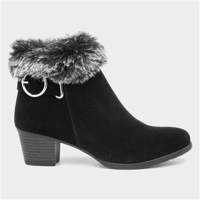 Womens Black Buckle Ankle Boot