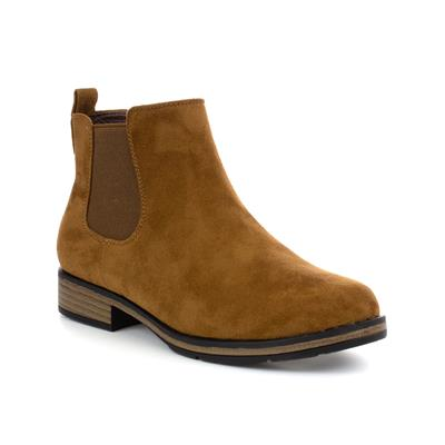Womens Tan Faux Suede Ankle Boot
