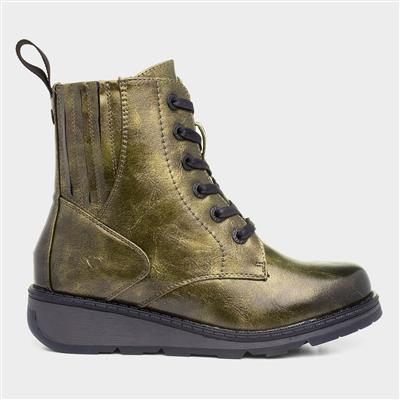 Journey Womens Green Ankle Boot