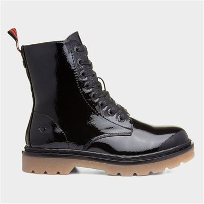 Justina Womens Black Patent Boot