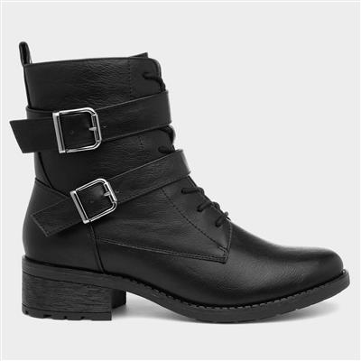 Womens Black Lace Up Boots