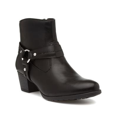 Womens Black Heeled Zip Up Ankle Boot