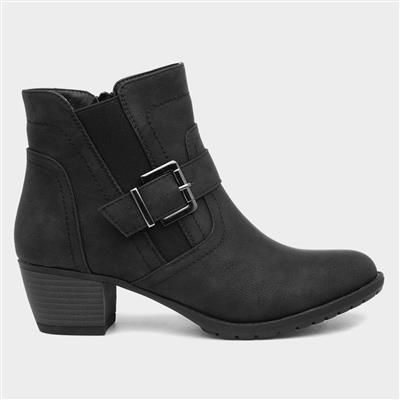 Womens Black Zip Up Heeled Ankle Boot