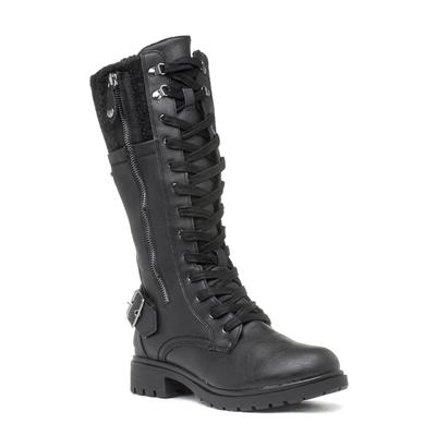 Womens Black Lace Up Calf Boot