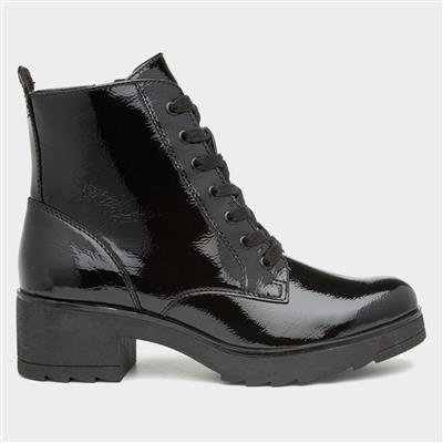 Womens Black Patent Heeled Ankle Boot