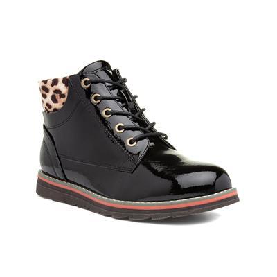 Naomi Womens Black Patent Lace Up Boot