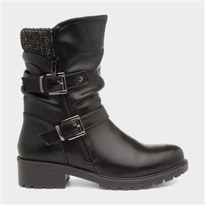 Womens Heeled Calf Boot in Black