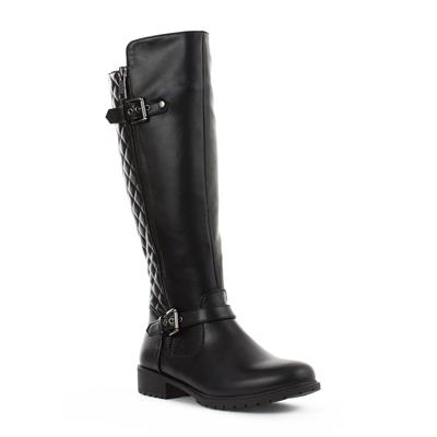 Womens Black Quilted Long Leg Boot