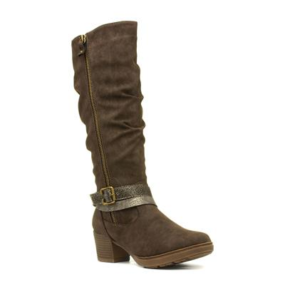 Judy Womens Brown Knee High Boot with Buckle