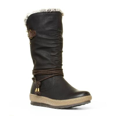 Womens Black Brown Calf High Boot