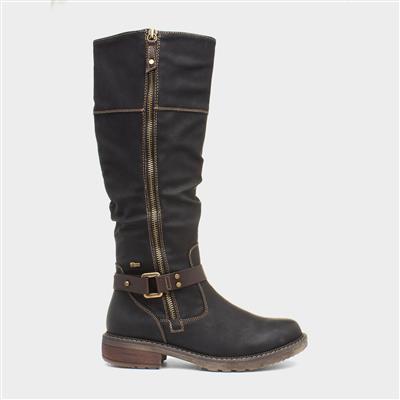 Womens Black Brown Riding Boot
