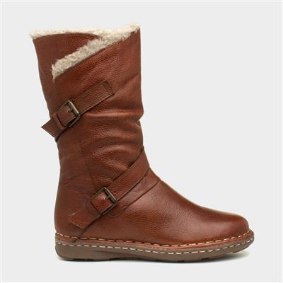 Jolanda Womens Brown Leather Calf Boot