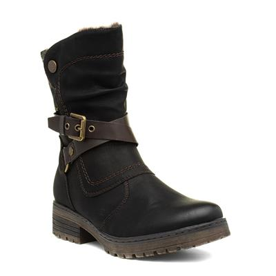 Womens Black Zip Up Calf Boot