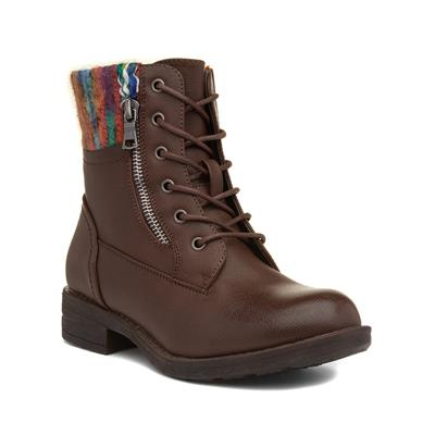 Womens Brown Lace Up Ankle Boot