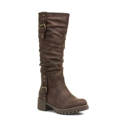 Brown Heeled Calf Buckled Boot