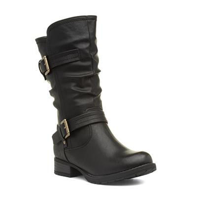 Womens Black Buckled Calf Boot