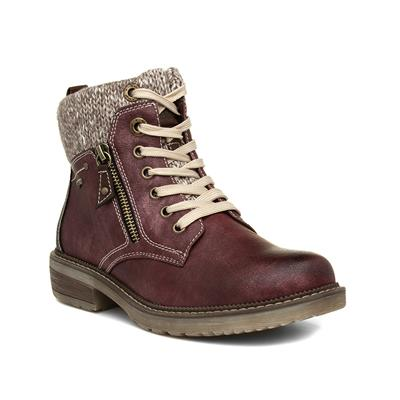 Womens Red Lace Up Ankle Boot