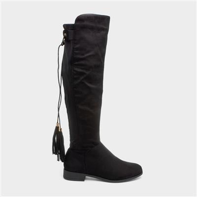 Womens Black Knee High Tassel Boots
