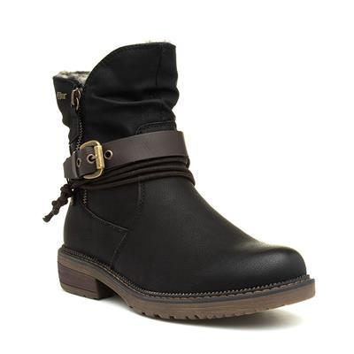 Womens Black Faux Fur Ankle Boot