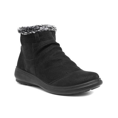 Tammy Womens Black Ruched Ankle Boot